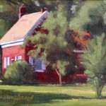 "Red House in the Country, 9"" x 12"""