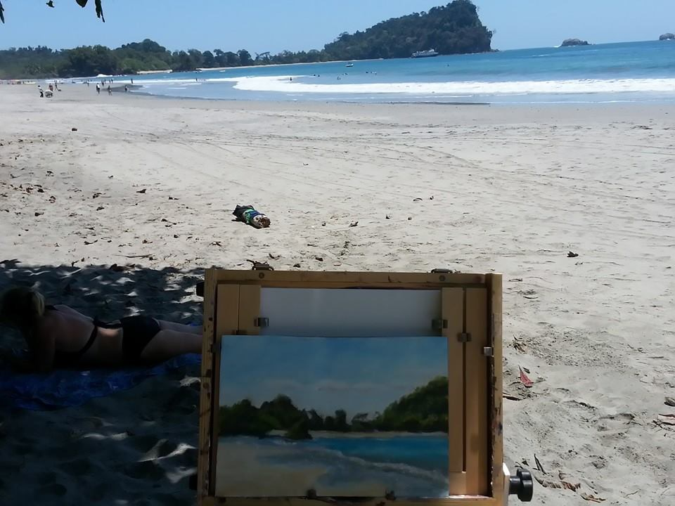 Tamara's painting on the beach