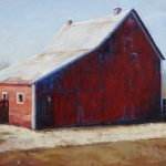CB Barn, Red & Blue, 20 x 24
