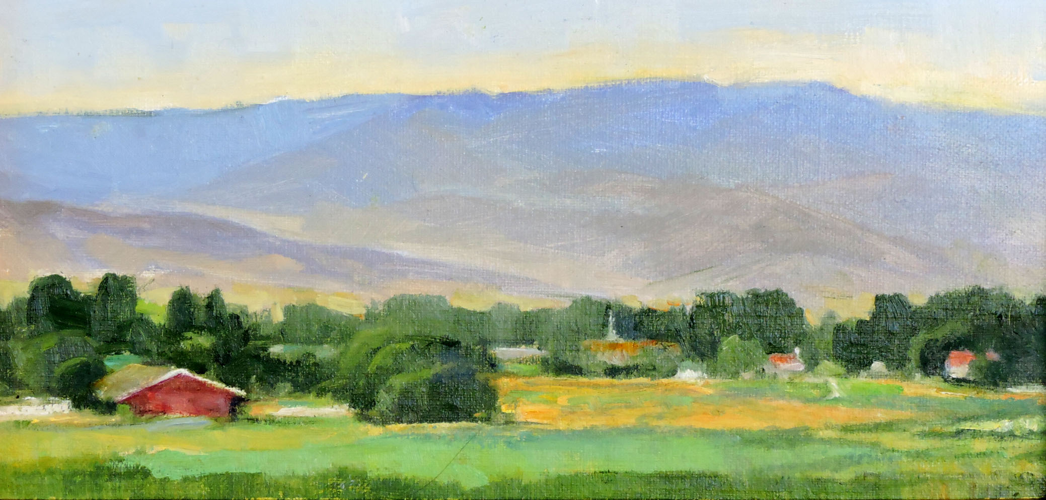 Edge of Town, 8 x 16, plein air