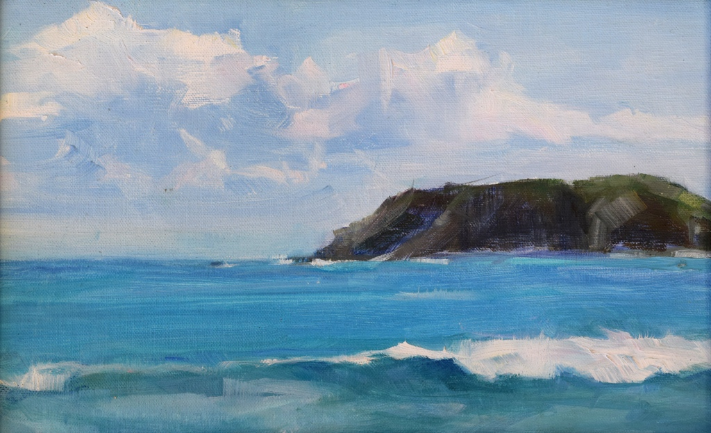 Clouds, Rocks & Waves, 7 x 11, plein air, SOLD